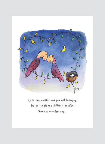 Leunig cartoon card - Love One Another