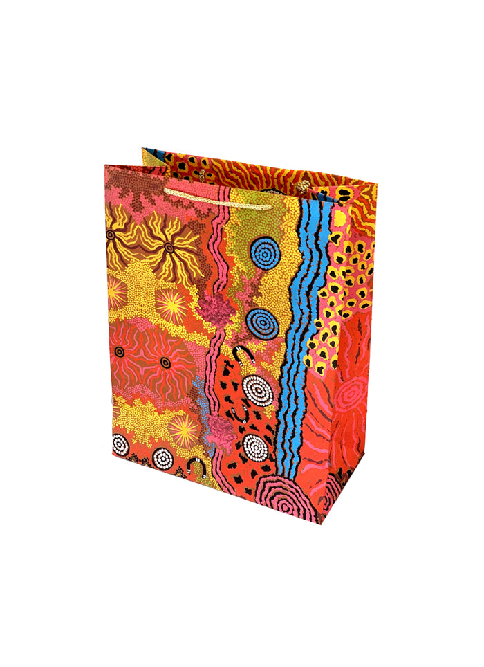 Better World Arts Handmade Paper Gift Bag - Damien and Yilpi Marks (975)