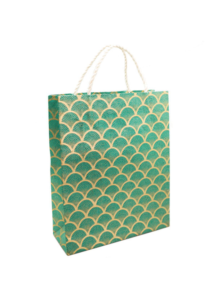 Handmade Lokta Paper Large Gift Bag (Fan Gold on Sea Green)