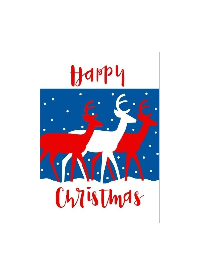 Letterpress Small Christmas Card - Happy Reindeers