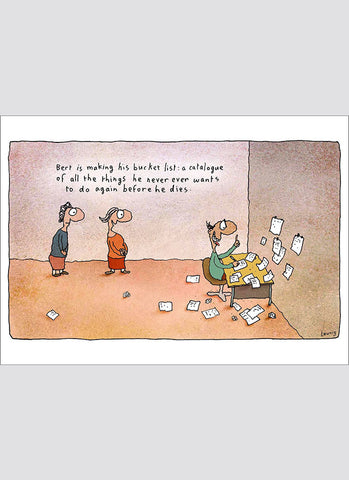 Leunig cartoon card - Bucket List