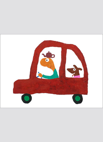 Leunig art card - Red Car