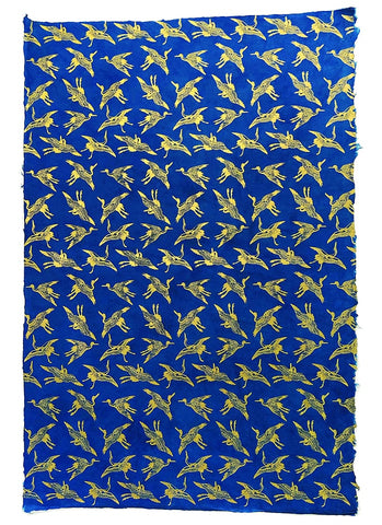 Handmade Lokta Paper - Swallows Gold on Blue