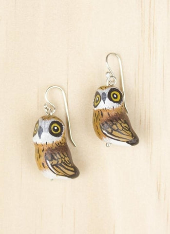 Songbird Earrings - Boobook Owl