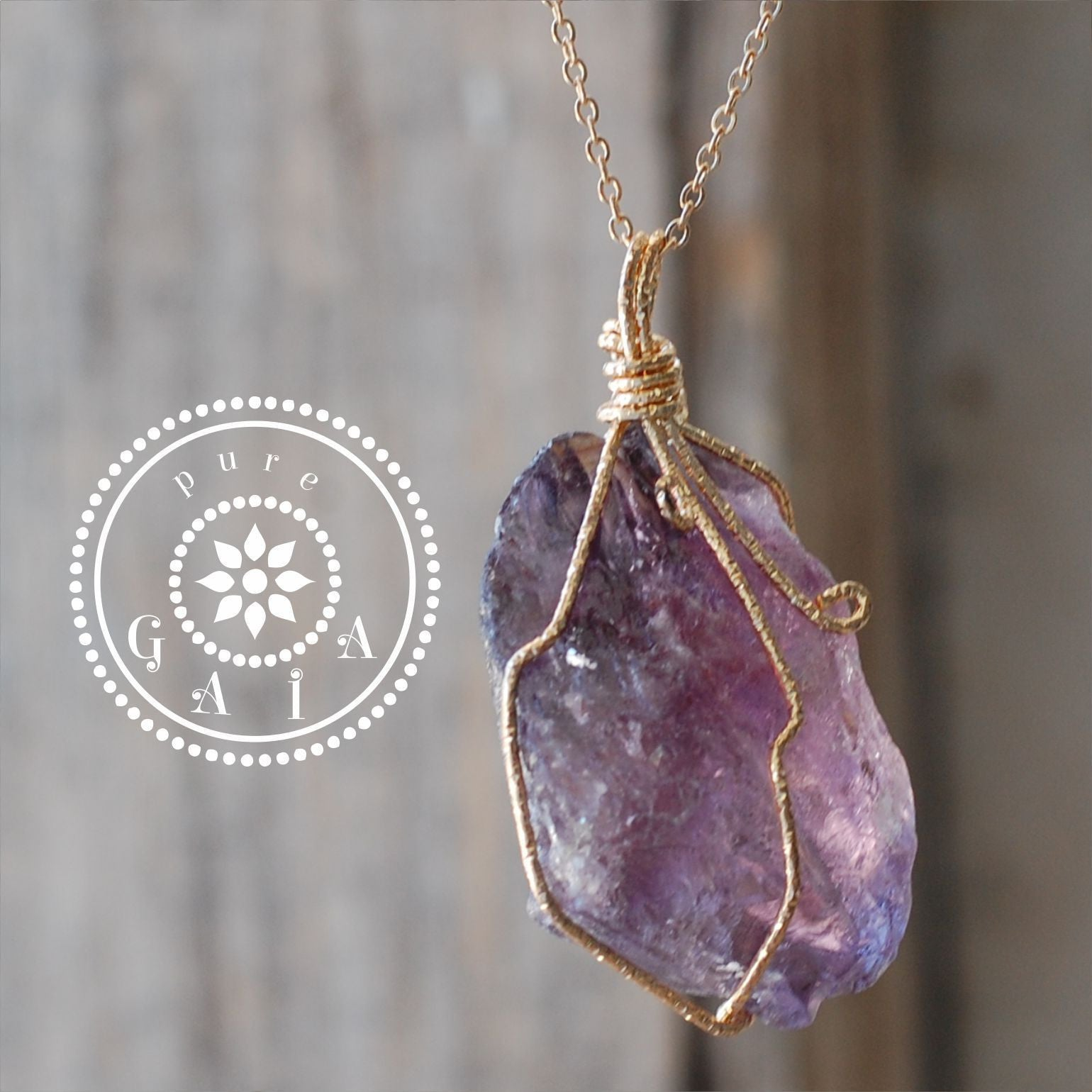 necklace raw amethysts amethyst and pin