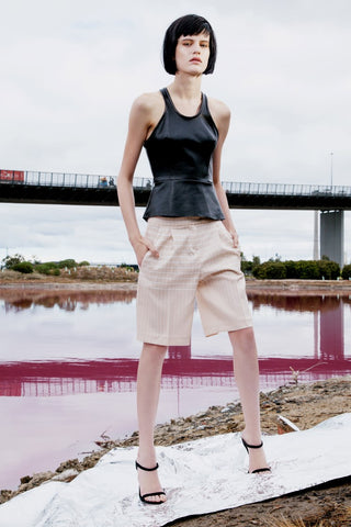 REFLECTANCE PLEAT SHORTS IN NUDE