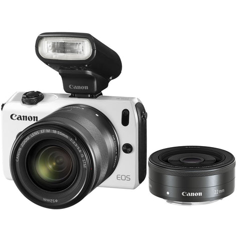 Canon EOS M2 Camera with 18-55mm & 22mm Twin lens kit and 90EX flash