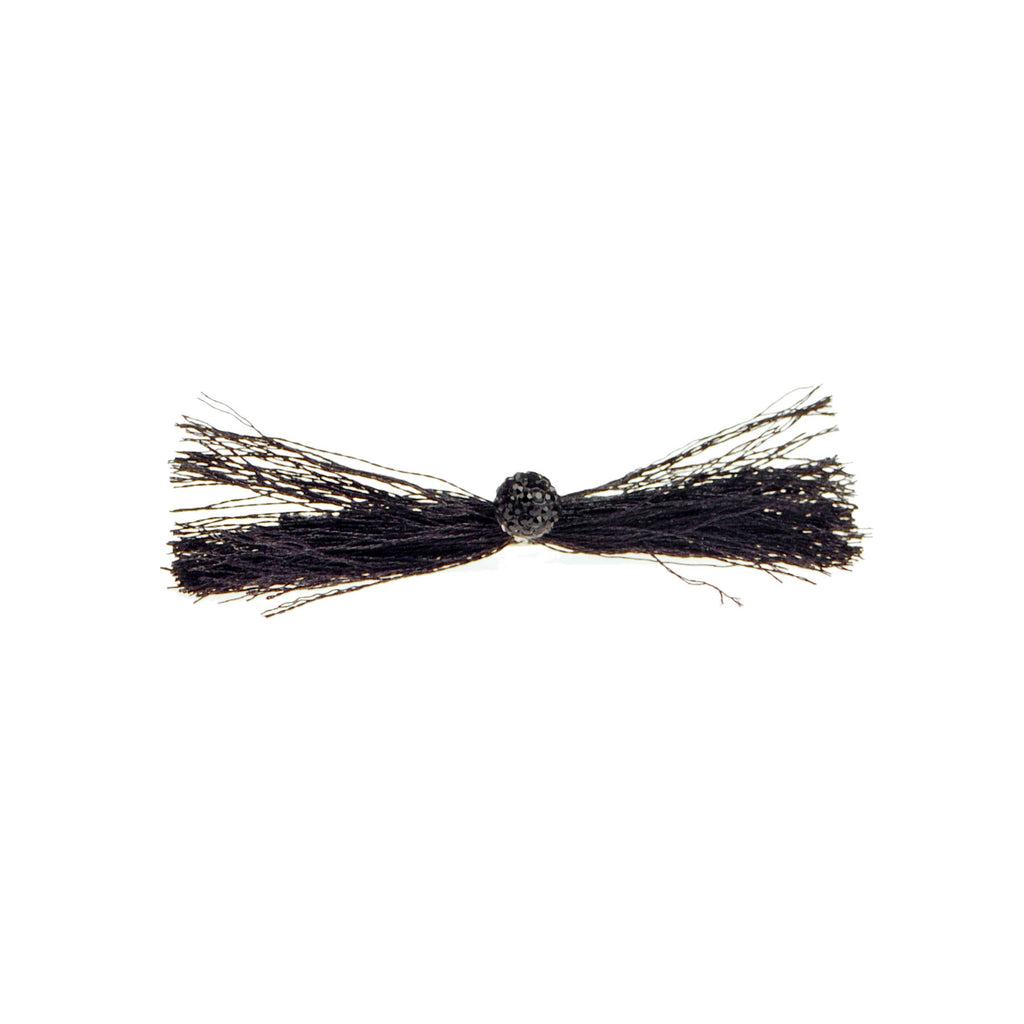 Thread Bow Barrette With Centre Stone