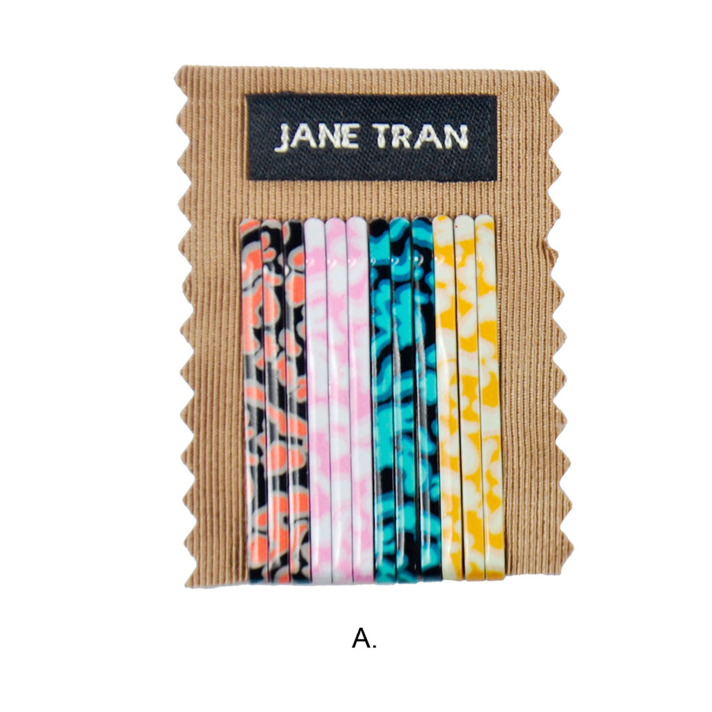 Small Ocean Tides Print Bobby Pin Set
