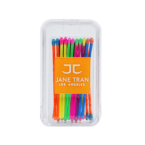 Neon Rainbow Matchsticks Bobby Pin Box