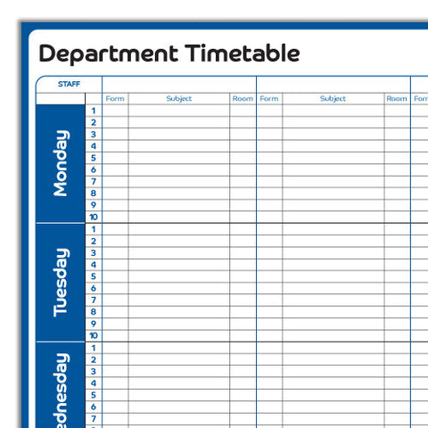 Department Planning Chart - Pack of 10