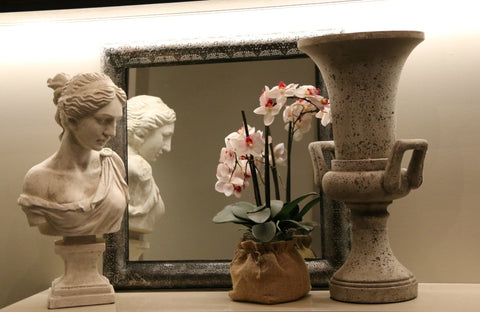 Lace metal frame mirror, pink and white orchid in hessian sack, Grecian urn and Ophelia lady bust