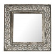 Square mirror with metal cutwork frame