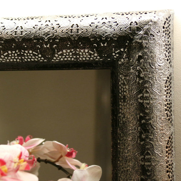 Square mirror with metal cutwork frame - adorned-interiors