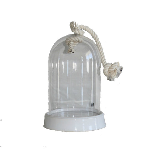 Glass cloche with rope