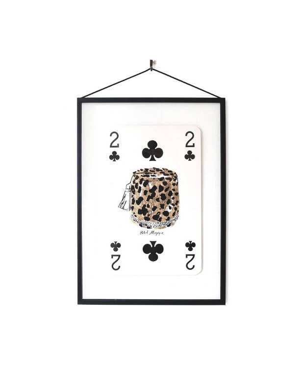 Hotel Magique - Giant Vintage PLaying Card 2 of Clubs Frame