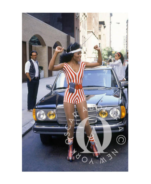 Oscar Abolafia - Diana Ross skating in New York City streets 1982.