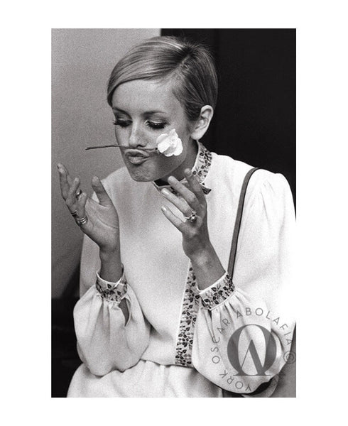 Oscar Abolafia - Twiggy in dressing room of The Tonight Show starring Johnny Carson. NBC building New York City 1967
