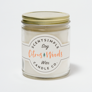 Citrus Woods Scented Soy Wax Candle