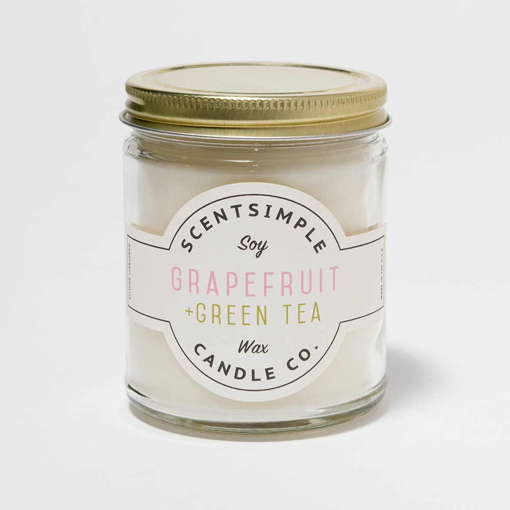 Grapefruit+Green Tea Scented Soy Wax Candle