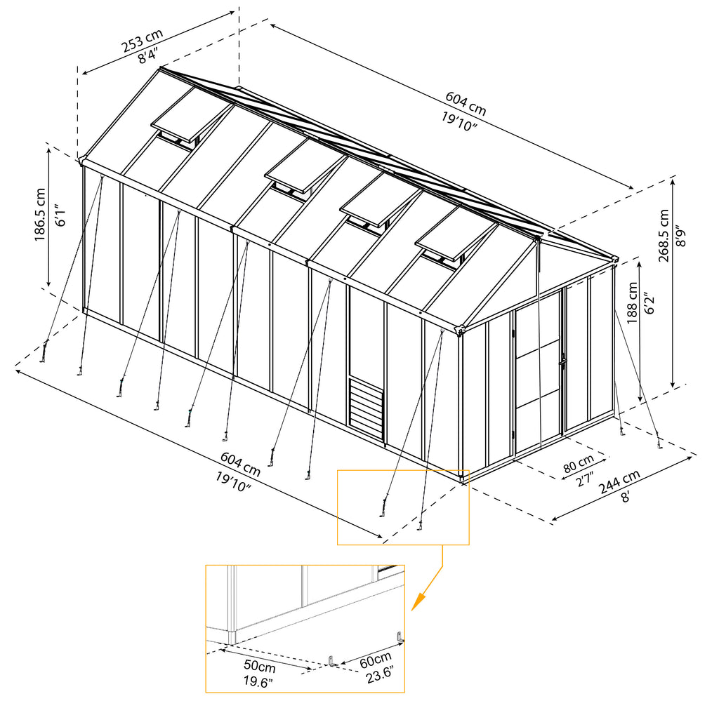 Glory 8x20 Greenhouse Dimensions
