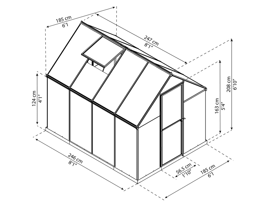 Canada Greenhouse Kits Mythos 6 x 8 Dimensions