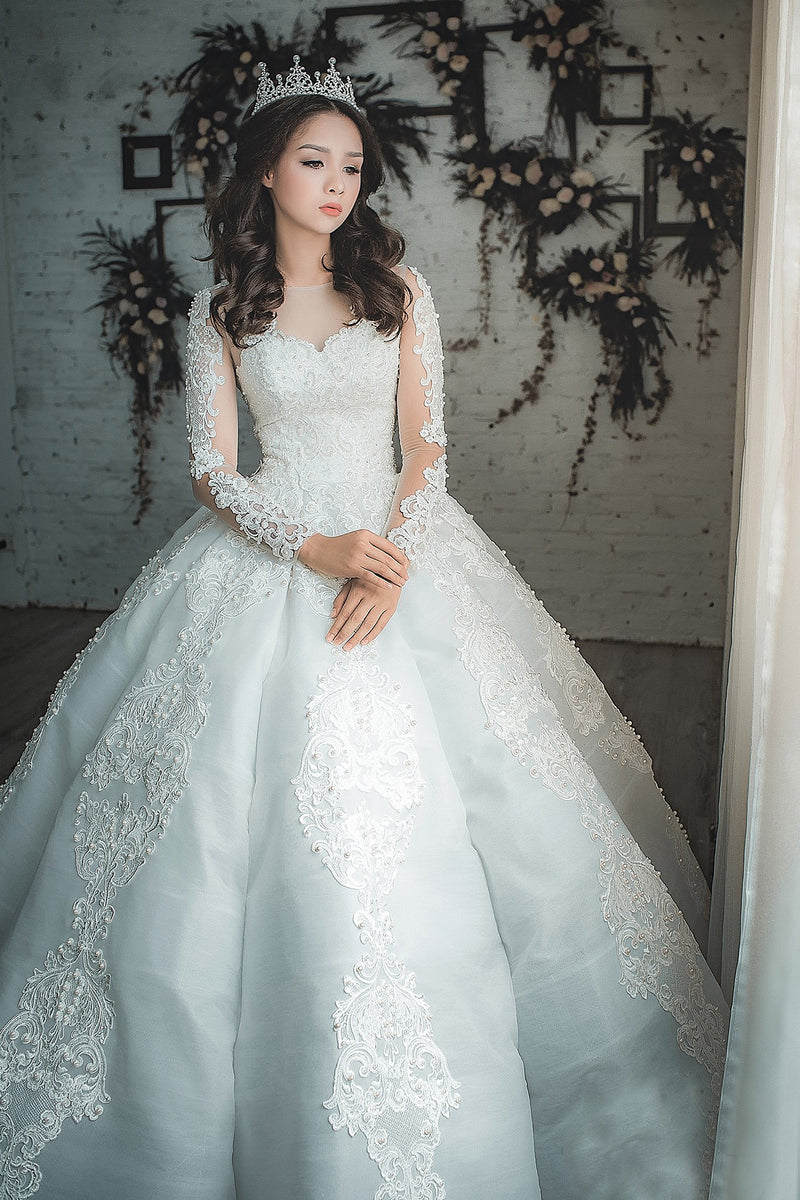 Ophelia white lace satin wedding dress