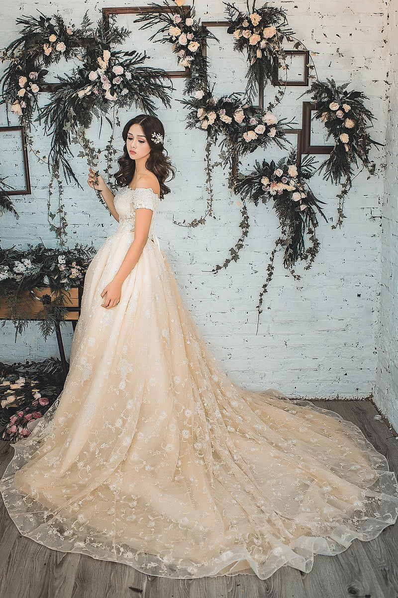 Melrose light champagne blush wedding dress