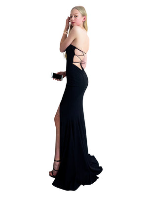Alexia Black strapless mermaid dress with slit