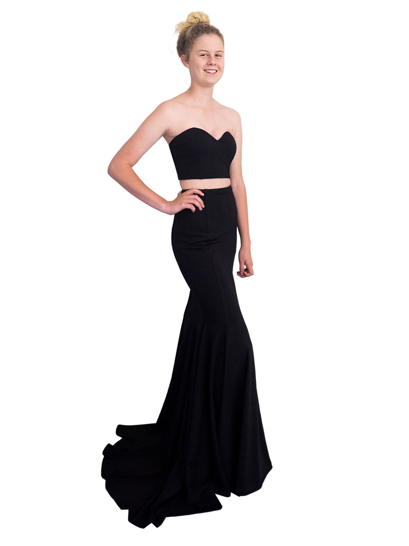 Isabella black two piece mermaid skirt with sweetheart neckline tube