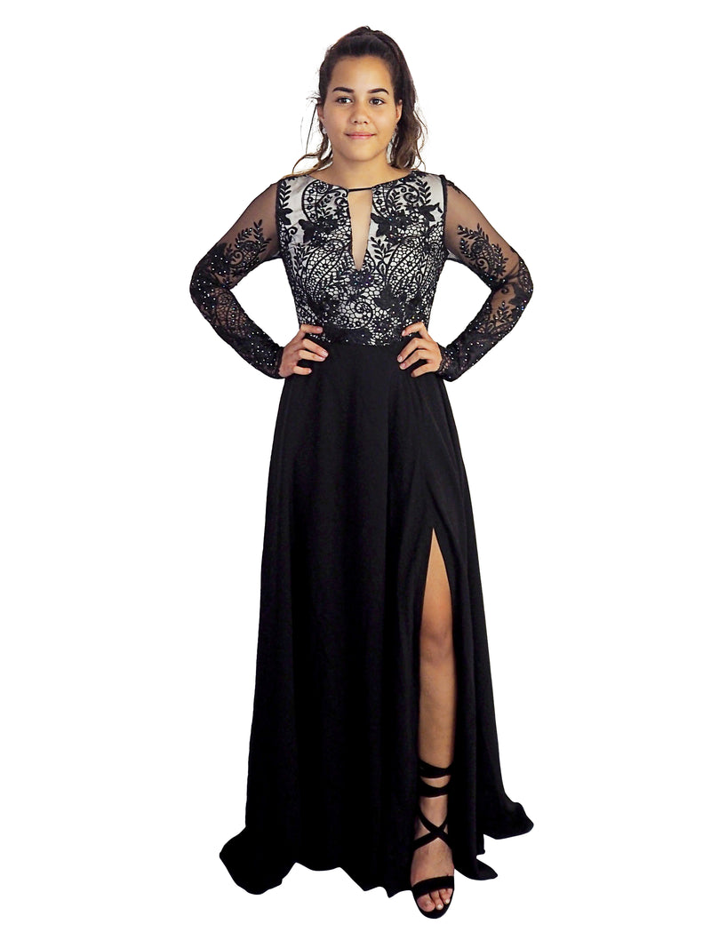 Nardia black lace top long sleeves dress with slit