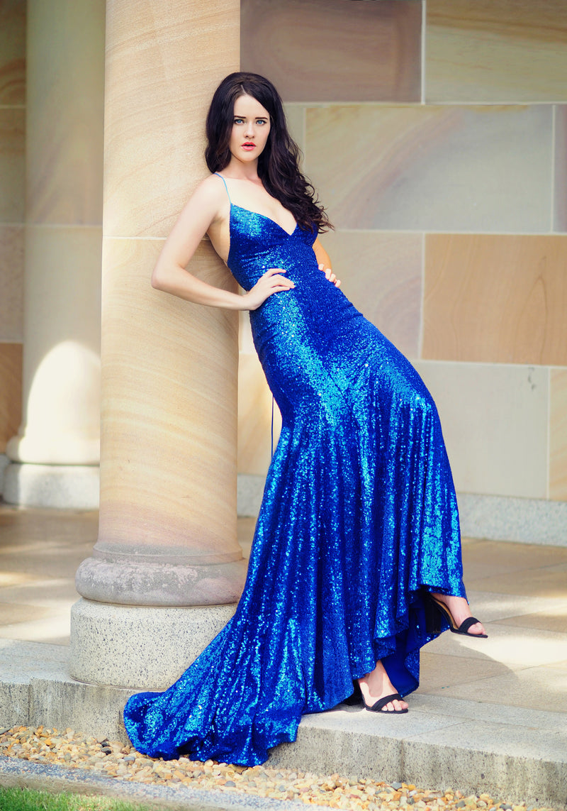 Lucianna royal blue sequin mermaid dress