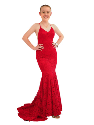 Shayne dark red lace mermaid dress with V-neck