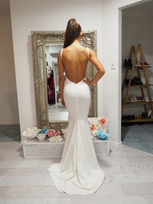 Ruby white backless mermaid dress