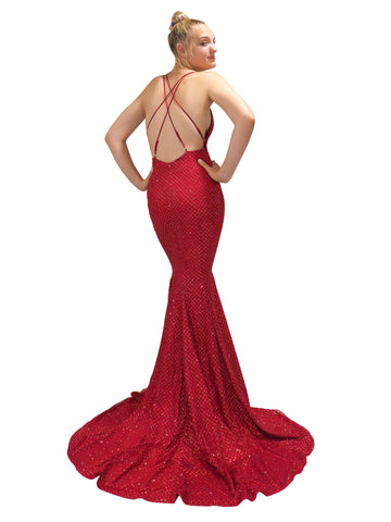 Chyanne dark red satin with glittering checker lace mermaid dress