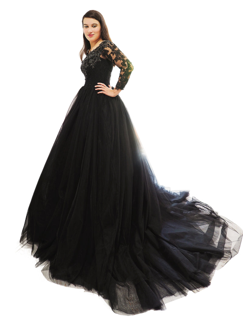 Lauryn black tulle long sleeves dress