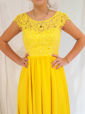 Ilene bright yellow chiffon dress with lace bodice and pearl details