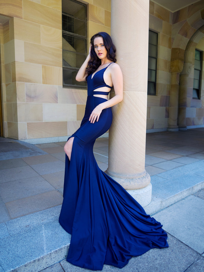 Leaticia navy blue cutout mermaid dress