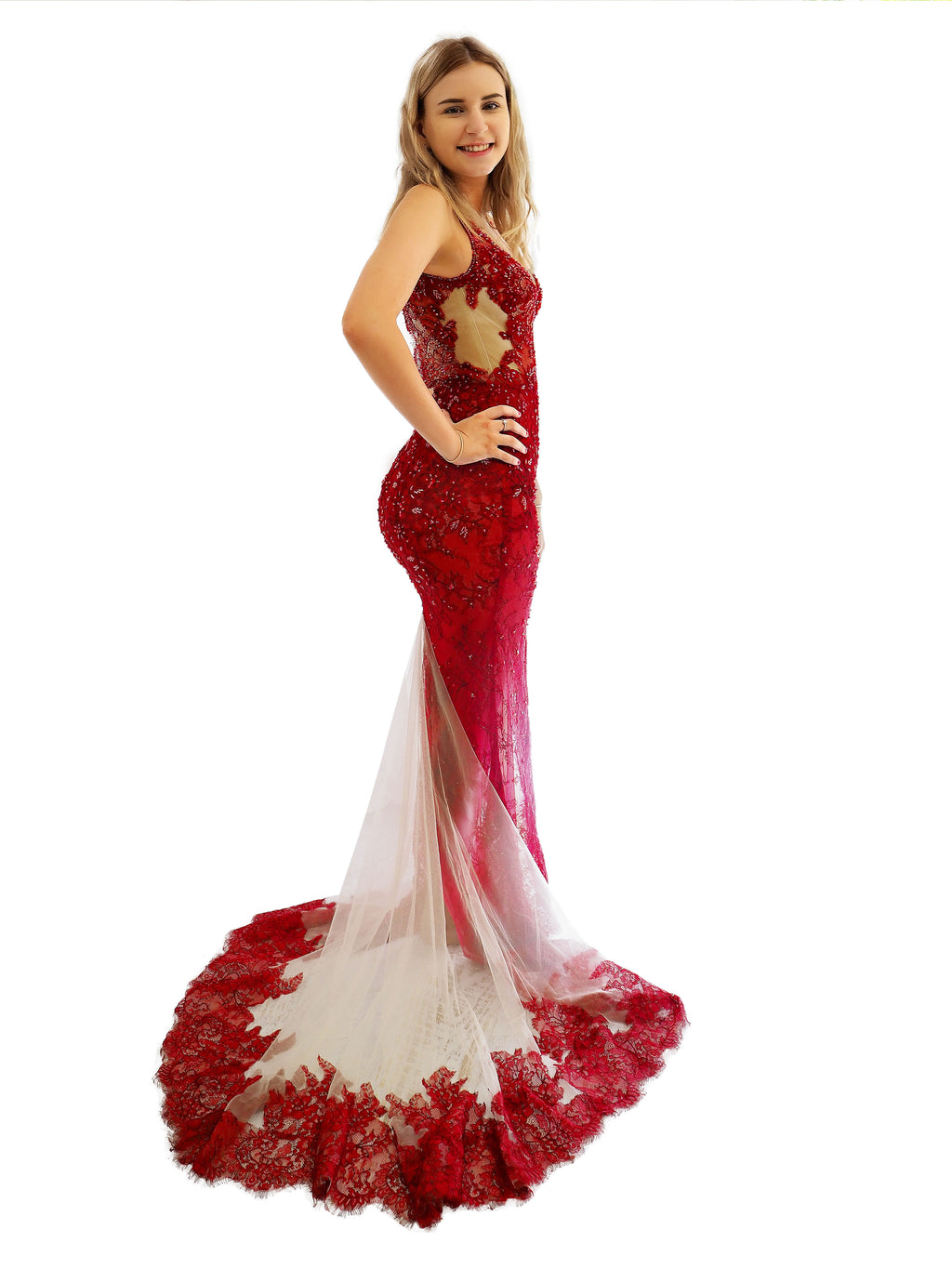 Priscilla dark red hand beaded lace mermaid dress