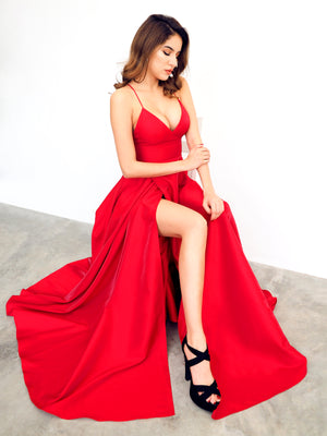 Red satin v-neck full dress with slit and lace up back