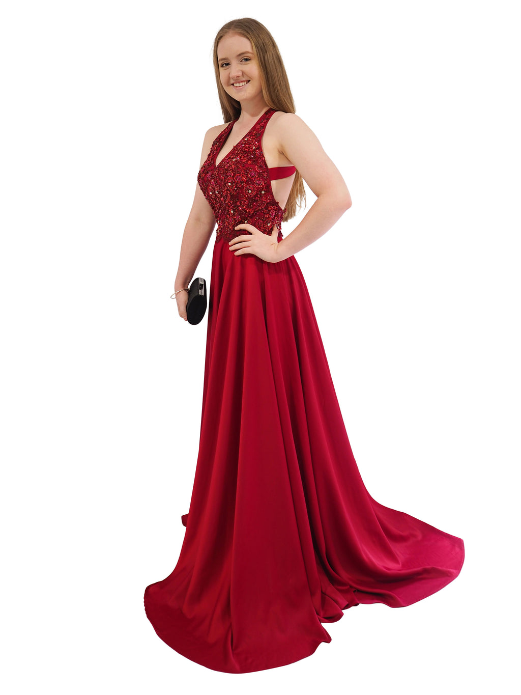Lucy dark red satin a-line dress with beaded top