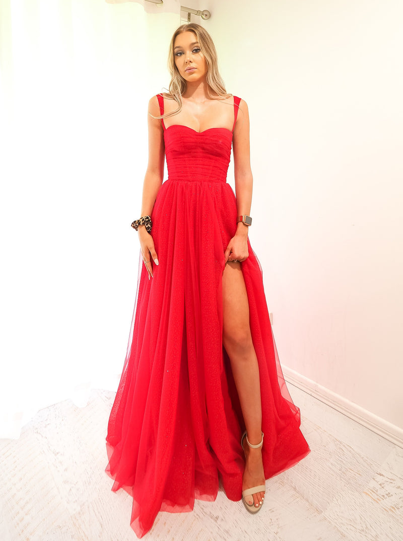 Poppy red sparkling  tulle dress with hidden bustier bust