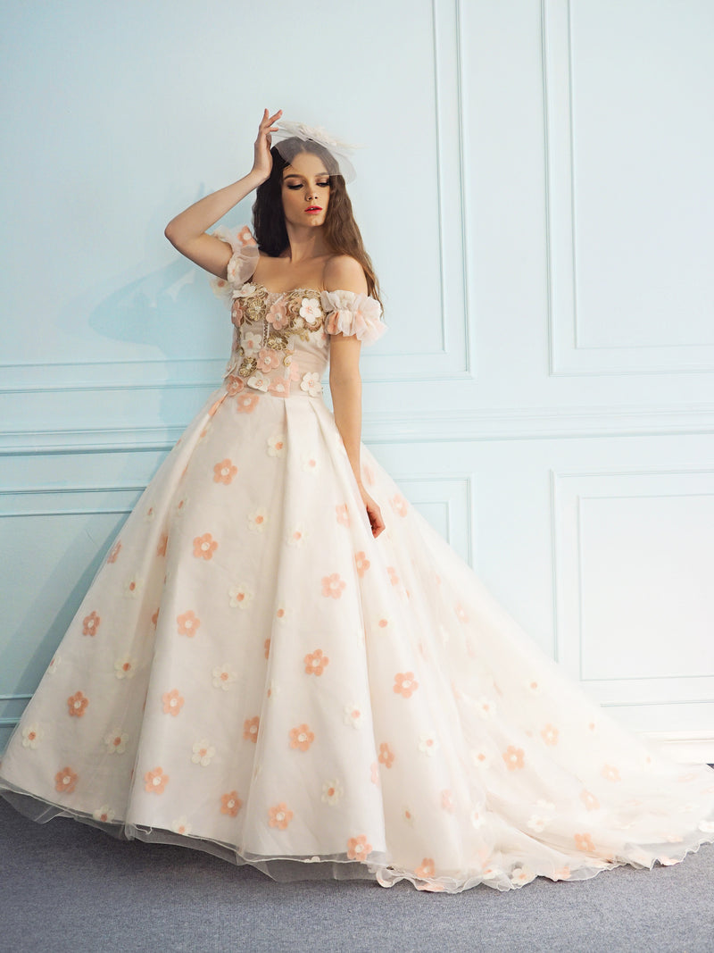 Miriam pink and white daisy wedding dress