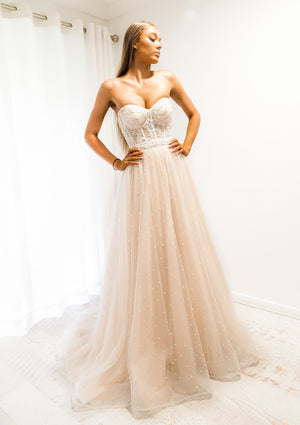 Princess of the sea blush tulle bustier corset dress