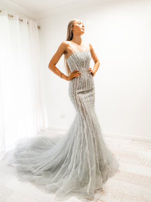 Katrina Silver mermaid dress with long train