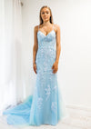 Mira baby Blue tulle corset lace mermaid dress with lace up back