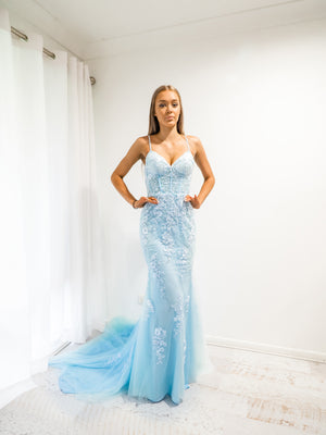 Baby Blue tulle corset lace mermaid dress with lace up back