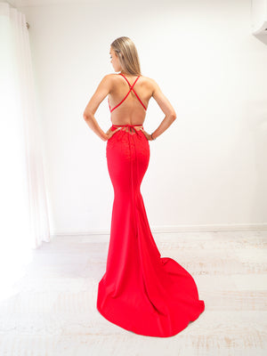 Red vine stretch knit Deep-V mermaid dress
