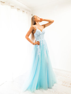 Baby Blue tulle corset lace princess dress with lace up back