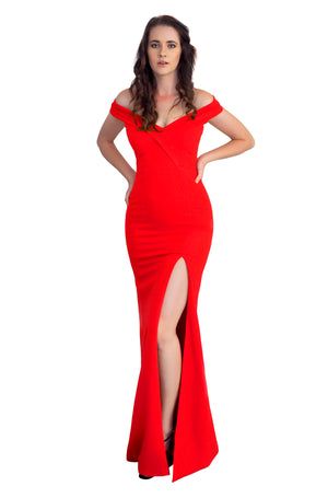 Holly red off the shoulder mermaid dress with high slit